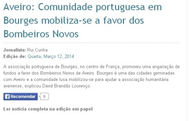 Aveiro Comunidade portuguesa em Bourges mobiliza se a favor dos Bombeiros Novos Diário de Aveiro