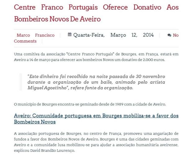 Centre Franco Portugais oferece donativo aos bombeiros Novos de Aveiro