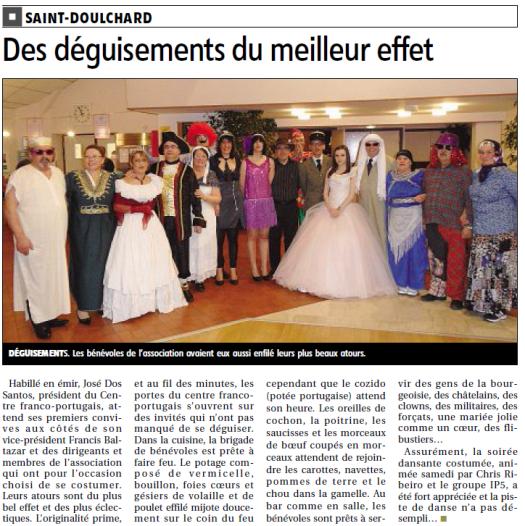 Aricle de presse sur le Bal Costumé du 23/02/2013, crédit photo